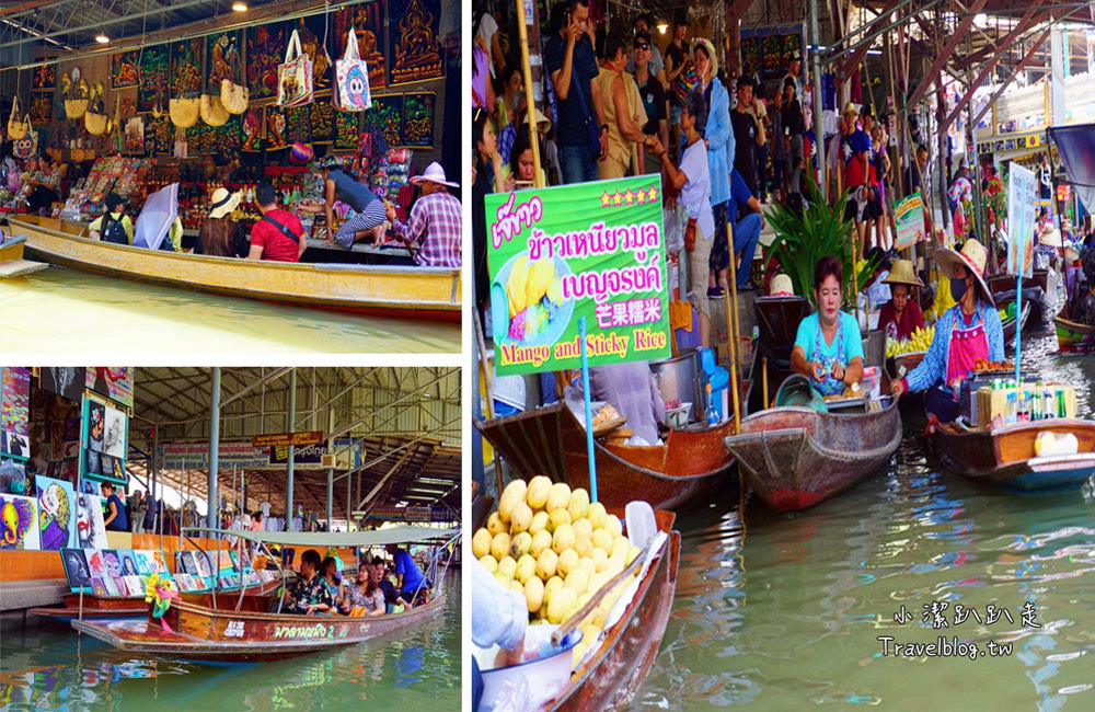 泰國曼谷景點》丹能莎朵水上市場。手搖舢舨船初體驗逛大街~觀光客的最愛,電影都愛來取景拍攝!